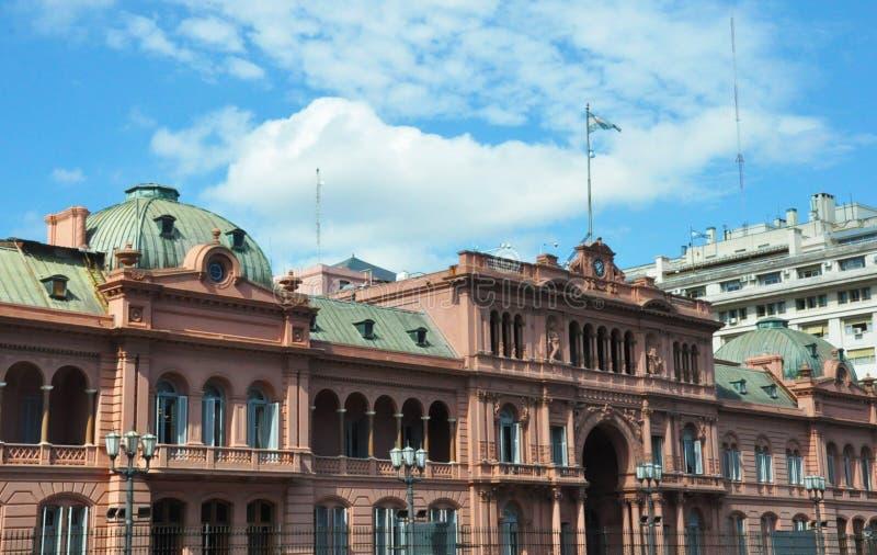 Casa Rosada Różowy dom Puerto Madero przy półmrokiem Argentyna obrazy stock