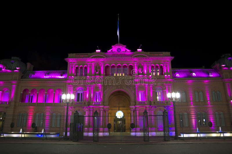 Casa Rosada (Roze Huis) 's nachts royalty-vrije stock foto