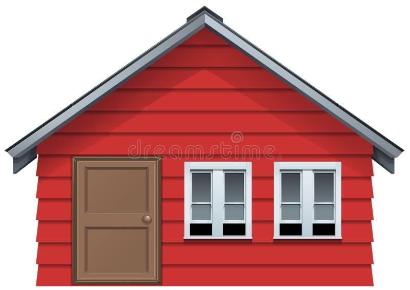 Casa rossa con la porta di legno e due finestre illustrazione di stock