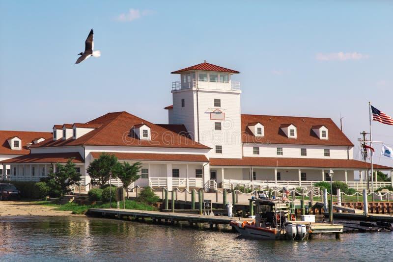Casa rossa del tetto, pilastro di legno, barca Gabbiano in volo fotografia stock