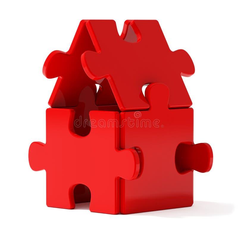 Casa rossa di puzzle illustrazione di stock