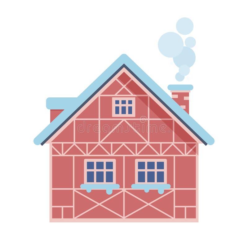 Casa rural del invierno con la chimenea libre illustration