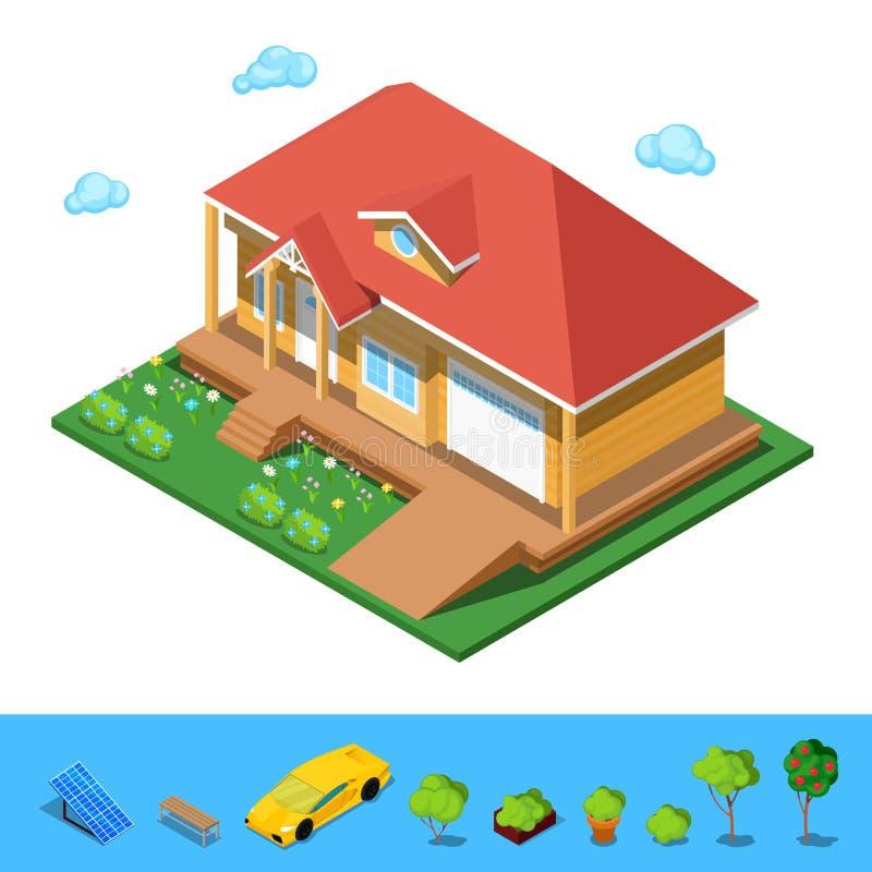 Casa rural isométrica del edificio ilustración del vector