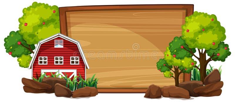 Casa rural na placa de madeira ilustração do vetor