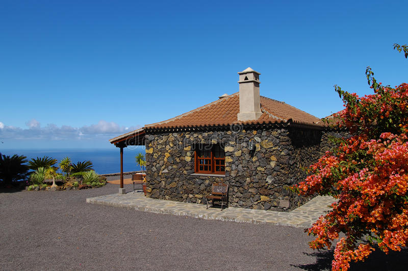 Casa Rural among the vineyard over the ocean royalty free stock images