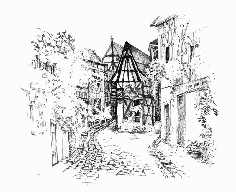 Casa rurale nell'illustrazione in bianco e nero di giorno di estate illustrazione vettoriale