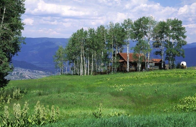 Casa rurale in un boschetto della tremula in montagne rocciose immagine stock libera da diritti