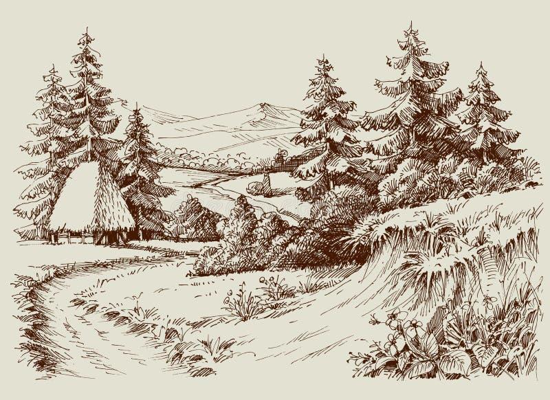 Casa rustica nel paesaggio alpino illustrazione vettoriale