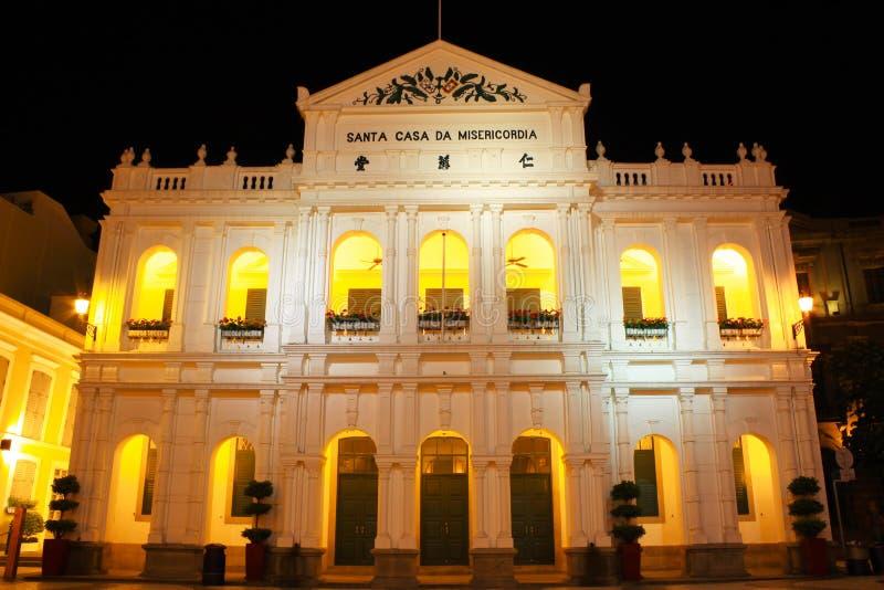 Casa santa de la misericordia en la noche, Macao, China imagenes de archivo