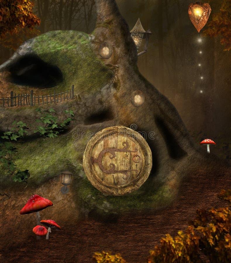 Casa segreta nel mezzo della foresta illustrazione vettoriale