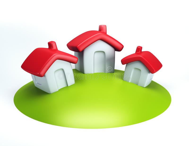 A casa simbólica pequena 3d rende ilustração stock