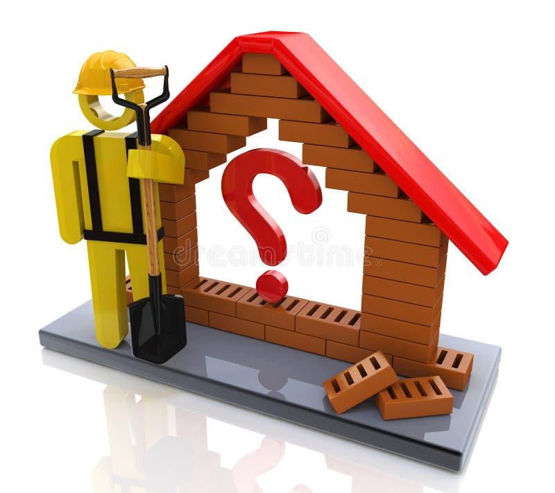 Casa simbolica con un punto interrogativo - concetto di costruzione illustrazione vettoriale