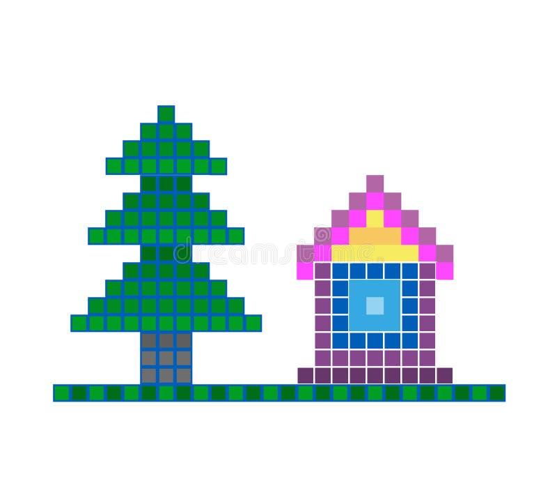 Casa simples do pixel em um fundo branco Ilustra??o do vetor ilustração royalty free