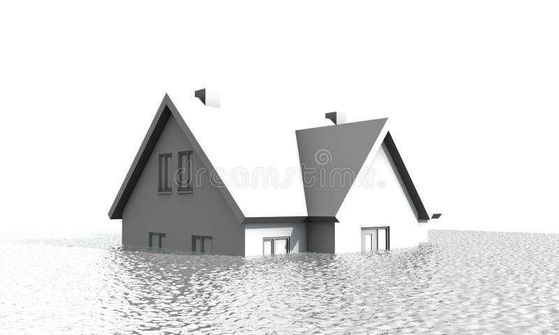Casa sob a água fotografia de stock
