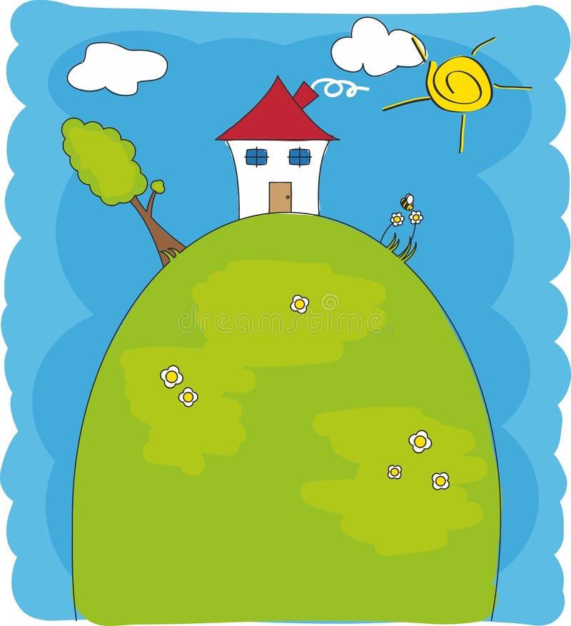 Casa sobre de uma montanha ilustração royalty free