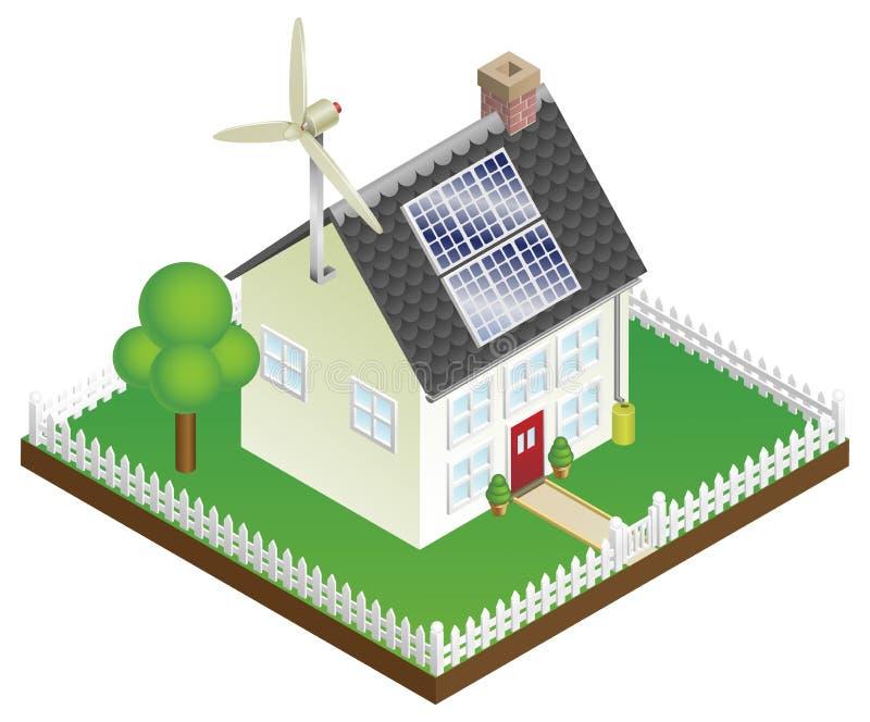 Casa sostenible de la energía renovable stock de ilustración