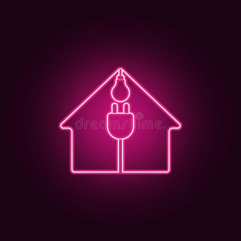 casa, spina elettrica ed icona della lampadina Elementi di ecologia nelle icone al neon di stile Icona semplice per i siti Web, w illustrazione di stock