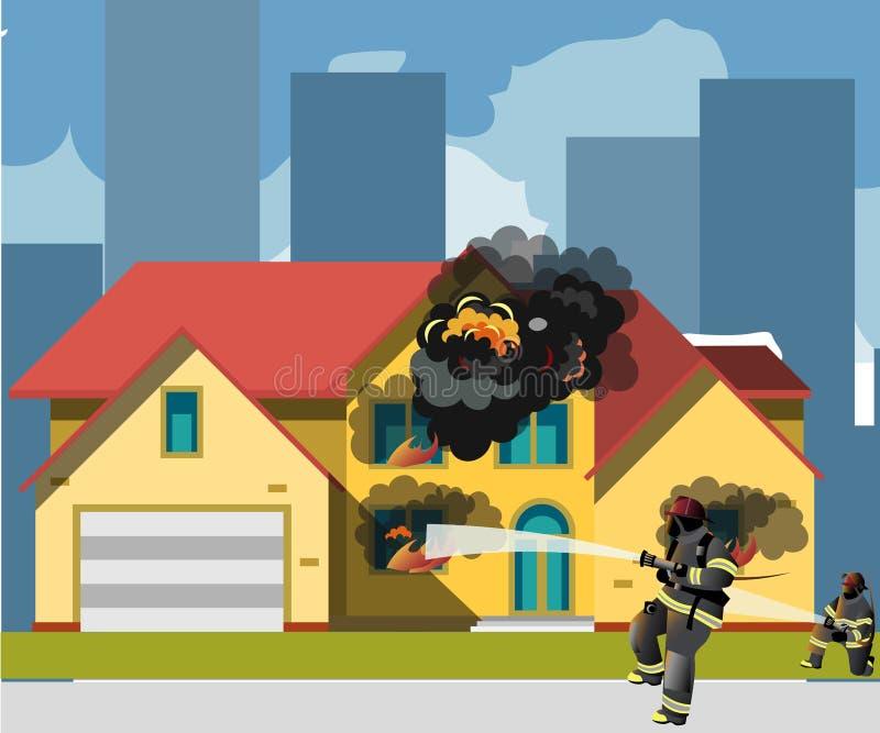 Casa su fuoco con il vigile del fuoco illustrazione di stock