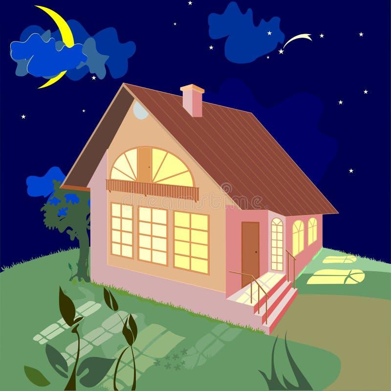 Casa su una notte di estate illustrazione vettoriale