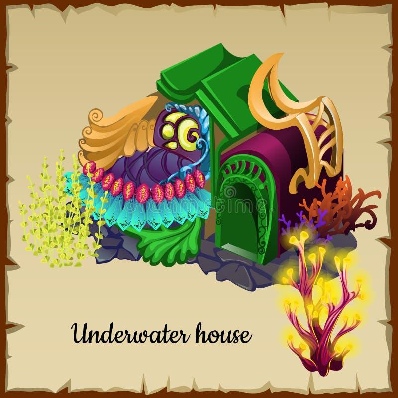 Casa subaquática mágica um residente do mar ilustração stock