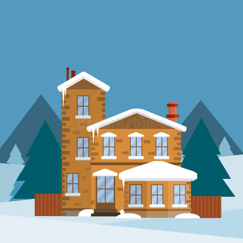 Casa suburbana com cerca de madeira Ilustração lisa dos desenhos animados ilustração do vetor