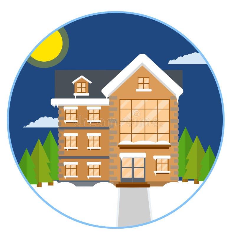 Casa suburbana Ilustração lisa dos desenhos animados ilustração royalty free