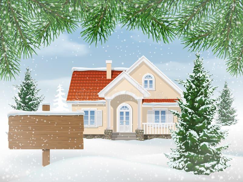 Casa suburbana in neve e segno da vendere royalty illustrazione gratis