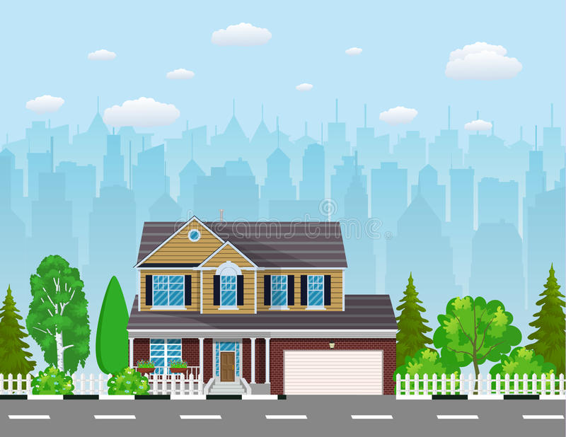 Casa suburbana privata con gli alberi, royalty illustrazione gratis