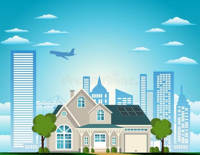 A casa suburbana residencial ilustração do vetor