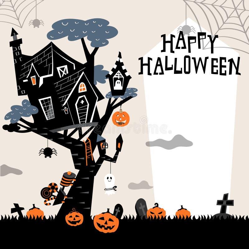 Casa sull'albero di Halloween illustrazione vettoriale