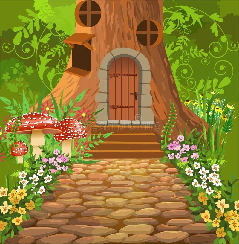 Casa sull'albero in mezzo alla foresta royalty illustrazione gratis