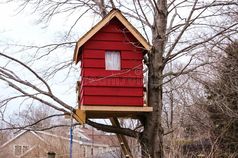 Casa sull'albero rossa fotografia stock