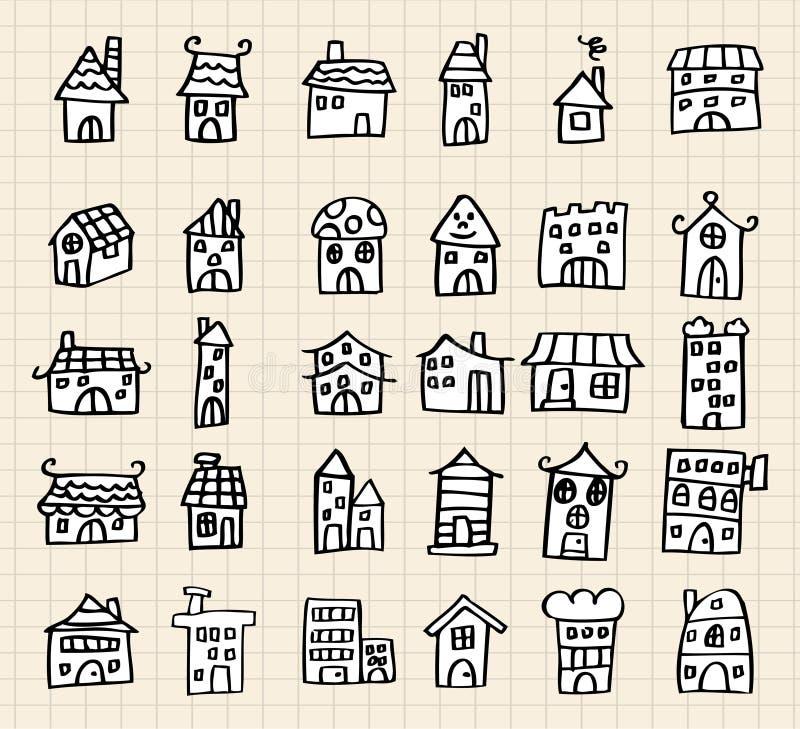 Casa sveglia di tiraggio della mano illustrazione di stock