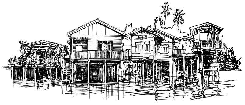 Casa típica a lo largo del canal stock de ilustración