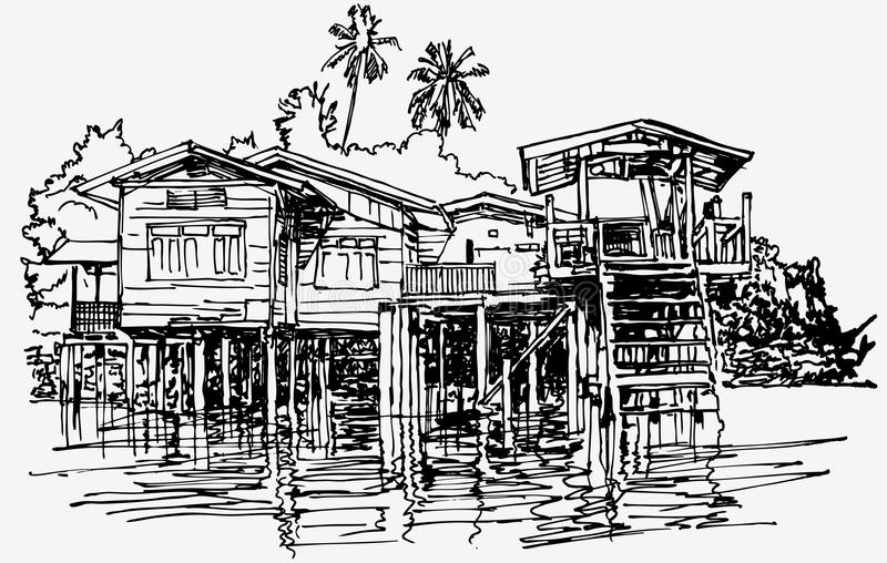 Casa típica a lo largo del canal cerca de Bangkok en tailandés libre illustration