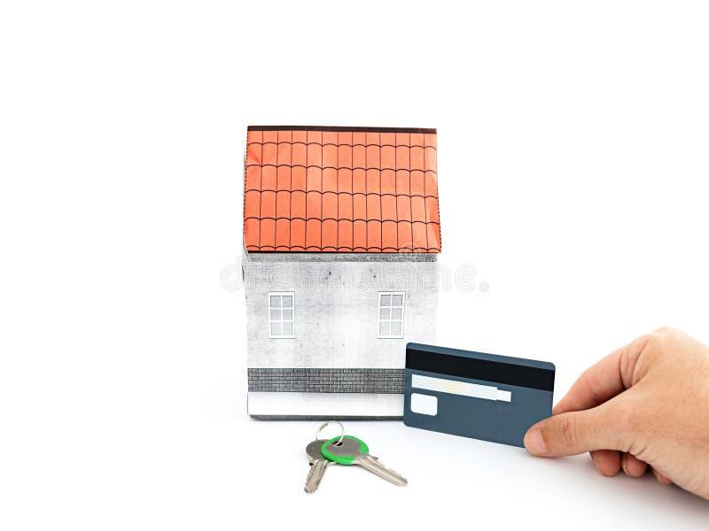 Casa, tarjeta de crédito y llaves miniatura, concepto de la transacción de las propiedades inmobiliarias imagen de archivo libre de regalías