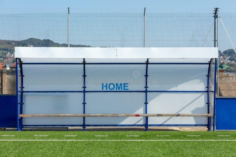 Casa Team Dugout - campo da calcio immagini stock libere da diritti