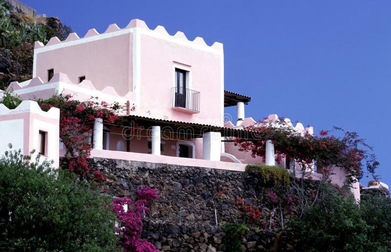 Casa tipica, isole eolie fotografia stock