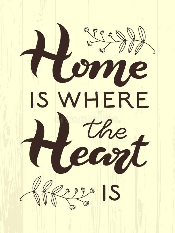 A casa tirada mão é o lugar onde seu coração é tipografia que rotula o cartaz em fundo de madeira textured Texto e decoração ao r ilustração royalty free