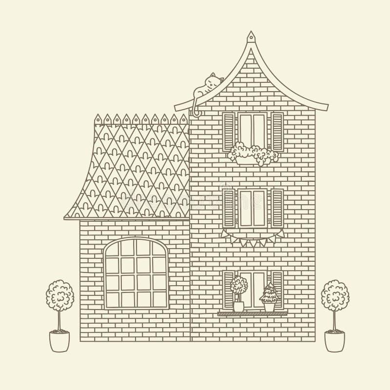 Casa tirada mão do vetor ilustração stock