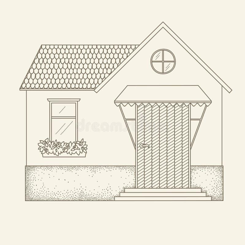 Casa tirada mão do vetor do esboço ilustração stock