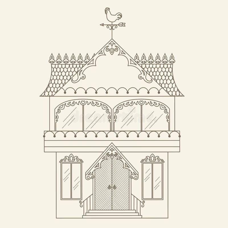 Casa tirada mão do vetor do esboço ilustração do vetor