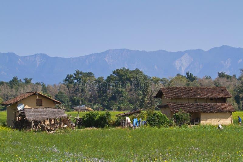 Casa tradicional del taru en Bardia, Nepal imágenes de archivo libres de regalías
