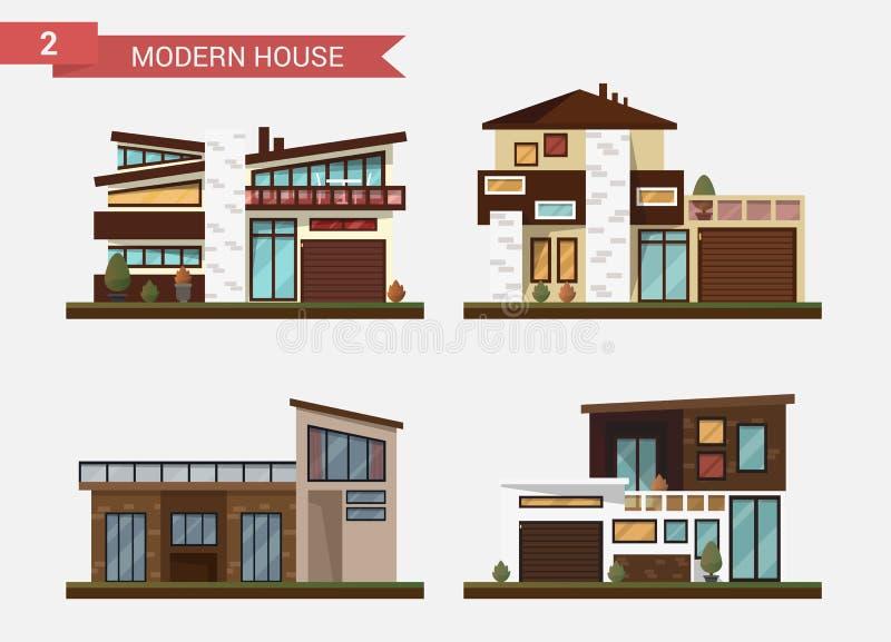 Casa tradicional e moderna da ilustração lisa do vetor Casa familiar Prédio de escritórios Pavimento privado, quintal com ilustração royalty free