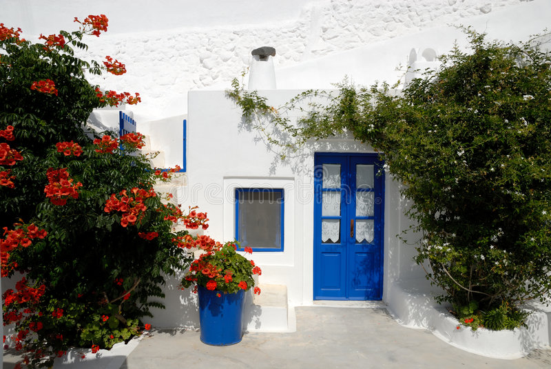 Casa tradicional en Santorini, Grecia foto de archivo libre de regalías