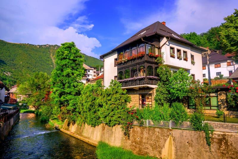 Casa tradizionale nello stile dell'ottomano, Travnik, Bosnia immagini stock libere da diritti