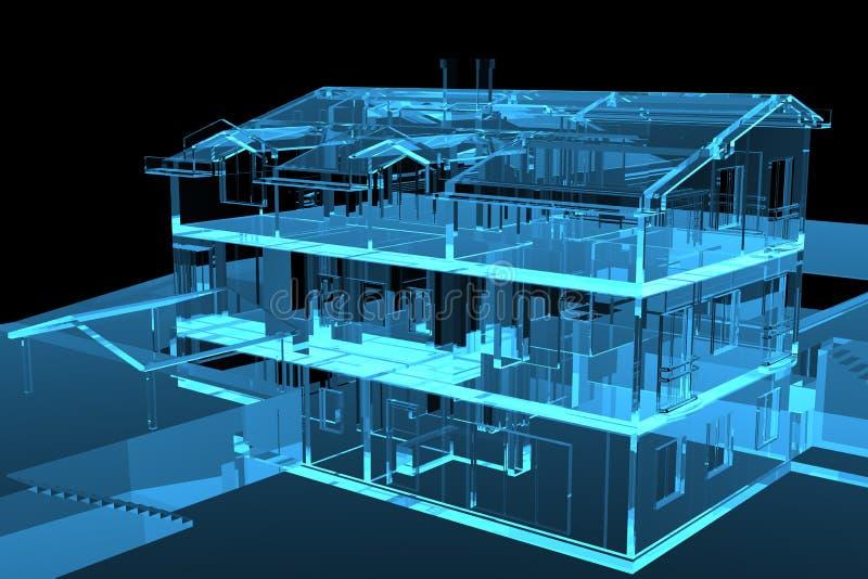casa transparente azul 3D stock de ilustración