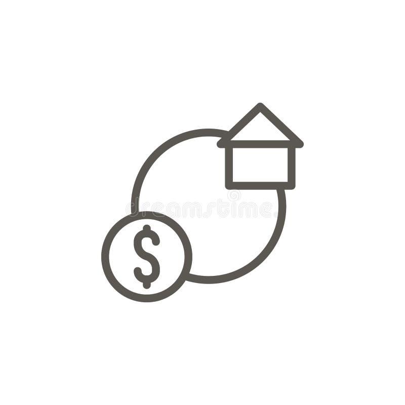 Casa, troca, casa, ícone do vetor do dinheiro Ilustra??o simples do elemento do conceito de UI Casa, troca, casa, ícone do vetor  ilustração do vetor