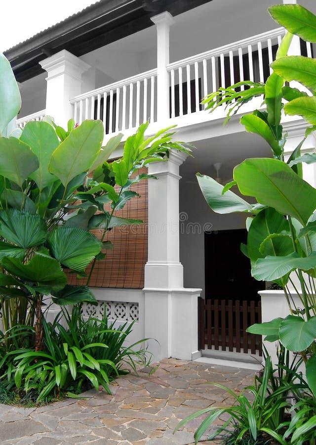 Casa tropical del estilo con el jardín enorme imagen de archivo