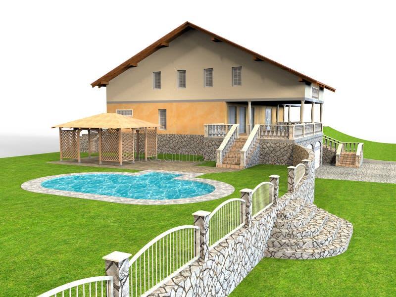 Casa tropicale di stile con uno stagno royalty illustrazione gratis